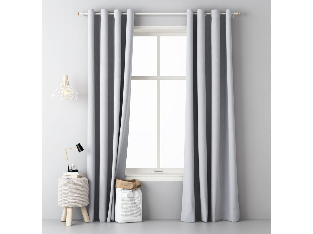Jednobojna draperija AURA Light Grey 1x 140x250cm
